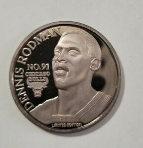 DENNIS  RODMAN CHICAGO BULLS ENVIROMINT COIN .999 FINE SILVER ROUND  TROY OUNCE