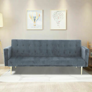 Modern Velvet Sofa Bed Grey With Rose Golden Legs Elegant Sofa Bed