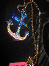 BETSEY JOHNSON SHIP SHAPE LARGE BEAUTIFUL BLUE BLING ANCHOR LONG NECKLACE