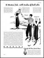 1931 Lake Placid skiers Bradley winter clothing vintage art Print Ad  adL27