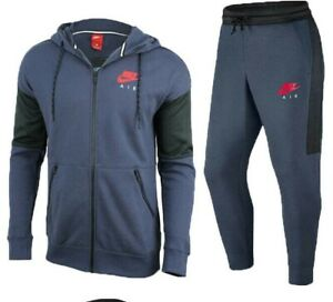 Nike Air Mens Fleece Tracksuit Full Set Navy Hoodie Joggers Track Bottoms New