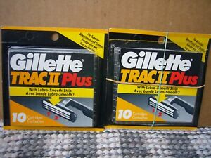 Gillette TRAC II Plus Lubrastrip Razor Blade 2 X 10 Refill Cartridges 20 Total