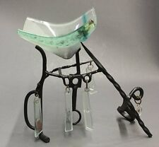 "ORIGINAL Patinated Metal & Glass SCULPTURE signed Mangan 95 - 11"" H x 12"" W"