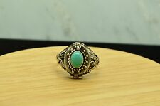 925 STERLING SILVER TURQUOISE ORNATE BEADED POISON RING BAND SIZE 6.5 #B3840