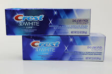2 Crest 3D White Luxe Diamond Strong Whitening Toothpaste Brilliant Mint 3.5 oz