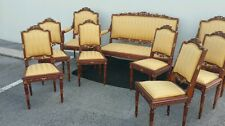 French Louis xvi set walnut ribbon carved gold gild imperial yellow upholstery