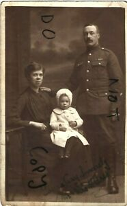 WW1 soldier CSM H Gadd MSM together with his wife and toddler