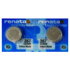 2 x Renata 357 Silver batteries 1.55V SR44W 303 V357 Watch 0% Mercury EXP:2019