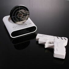 Novelty White Laser Target Gun Alarm Waken Desk LCD Clock Cool Gadget Shoot Gift