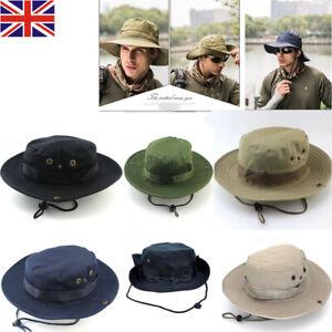 Mens Cargo Boonie Sunhat Sun Hat Cap Bucket Fishing Safari Bush Camo Outdoor UK