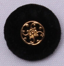 "100 Buttons -  7/8"" Black Velour Shank Buttons w/ Gold Metal-Look Center M211.27"