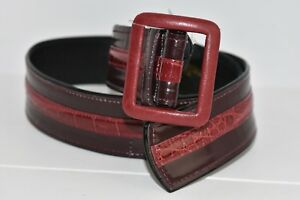 NEW Oscar de la Renta Burgundy Genuine Alligator Leather Belt W Buckle XS