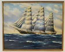 Antique Clipper Ship Original Oil Painting on Canvas Seascape Nautical Maritime