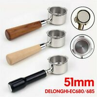 51mm Portafilter Coffee Make Wooden Handle Filter Stainless For EC680 / EC685