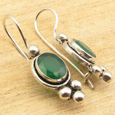 Oval GREEN ONYX Flawless Fit Earrings 3.5 CM ! Silver Plated Over Solid Copper