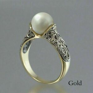 Fashion Wedding Ring for Women 18k Yellow Gold Plated White Pearl Ring Size 8