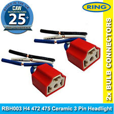 H4 472 475 Ceramic 3 Pin Headlight Repair Bulb Holder Connector High Temp 2xRing