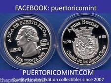 Silver PESETA AGUAS BUENAS 2009 Puerto Rico Boricua Quarter 1/100 Plata