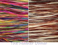 Lot 36 Grizzly Feathers Hair Extensions saddle Natural Pink Blue Brown RAINNB