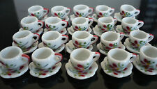 40 Coffee cup and Scalloped Hand Painted Red Orchid Dollhouse Miniatures  Deco