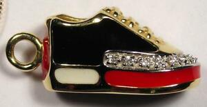 Shoe Charm - 14K Yellow Gold, Polychrome Enamel and Diamond