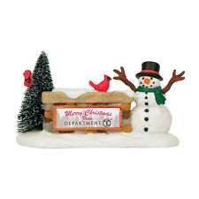 Dept 56 Welcome Sign Snowman 4030891 New D56 Christmas Village Accessory 2013