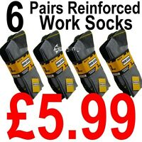6 Pairs Mens Ultimate Work Boot Socks Size 6-11 Cushion Sole Reinforced Toe