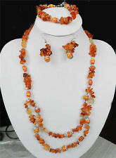 Red Agate  turquoise Necklace bracelet Earring Set X57 AAA