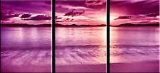 "EXTRA LARGE XL PURPLE CANVAS ART SUNSET SEASCAPE 42x20"""