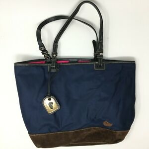 Dooney Bourke Womens Large Double Strap Handle Nylon Tote Bag Navy Blue J2021183