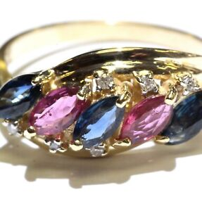 14k yellow gold .03ct SI2 H diamond sapphire red ruby ring 3.9g estate vintage