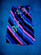 VINTAGE PURPLE BLUE PINK BLACK STRIPED DISCO DANCE SKIRT SIZE SMALL MADE IN USA