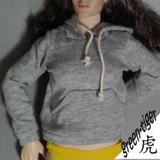 1:6 Scale ace Female figure parts - Light Grey hoody hoodie Street style