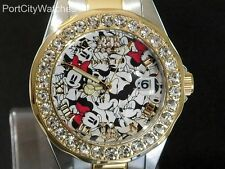 Invicta Womens Disney Two Tone S Steel Limited Edition Watch w/3 Slot Dive Case