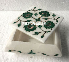 "4""x4""x2'' White Marble Jewelry Box Malachite Marquetry Inlay Deco Art Gift H3516"