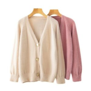Women Faux Cashmere Knitted Cardigan Sweater Jacket Single-breasted Chic Coat