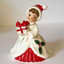 Vintage Josef Originals Christmas Girl W/ Present Bell Ceramic Figurine Japan
