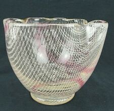 "Czech Harrachov Harrtil Bowl Clear Glass White Lattice Pattern Pink Trails 5"" Tl"