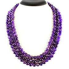 745.00 CTS NATURAL 3 STRAND RICH PURPLE AMETHYST ROUND SHAPED BEADS NECKLACE