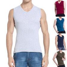 Fashion Mens Boy Tank Tops Casual V-Neck Fitness Solid Sleveless Vest Tops 34
