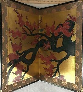 Japanese Golden Byobu/Mini Folding Screen, Beautiful Cherry-blossom