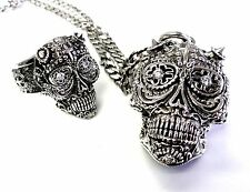 The Day Of The Dead Floral Skull Ring And Pendant Set With Natural Diamonds