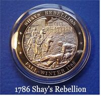 1786 Shay's Rebellion Against High Taxes FRANKLIN Solid BRONZE Uncirculated