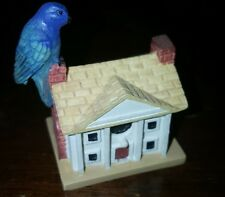 "Lenox small white house with blue bird, 1.75"" tall, yellow roof, chimney"