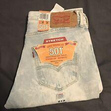 Levis 501 Original 32x34 Men's Jeans White Wash Button Fly Stretch NWT $59.50