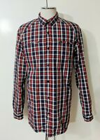 Mens Quicksilver Plaid Button Down Shirt Sz XL Long Sleeve Front Pockets Cotton