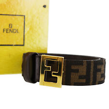 FENDI Zucca Pattern Belt Brown Black Canvas Leather Gold-Tone Italy Auth #Y256 W