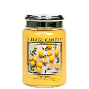Fresh Lemon Scented Village Candle 26oz Glass Jar Tart Citrus Exotic Fragrance
