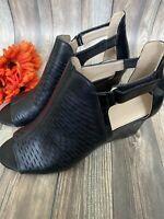 Adrienne Vittadini Womens Size 9.5 Black Peep Toe Strap Wedges EUC