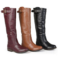 Journee Collection Womens Round Toe Knee High Buckle Detail Riding Boots New